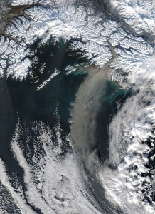 A 2005 dust storm over the Gulf of Alaska originated with glacial sediments left by retreating glaciers (NASA)